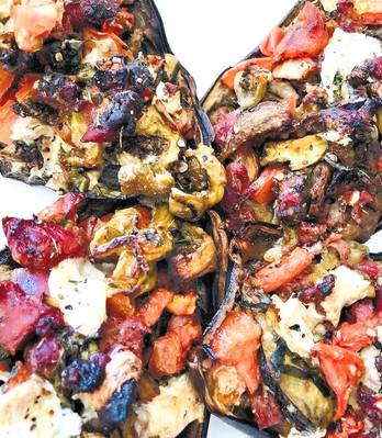 Eggplant stuffed with raw ham, tomatoes, mozza & eggplant caviar