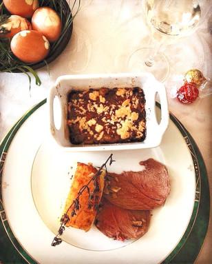 Leg of lamb, Potato pavés & Parmesan shallots gratin