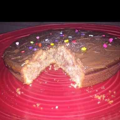 Chocolate-Vanilla cake covered with chocolate spread