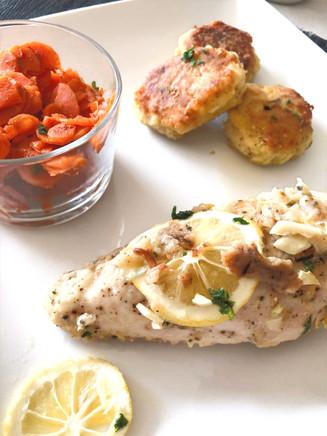Lemon pepper chicken, Moroccan carrot salad & potato dumpling
