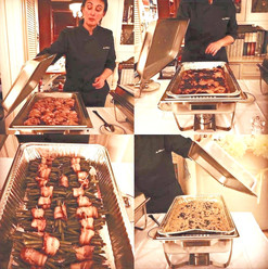 Duck breast lacquered with, honey, spices  Gratin dauphinois Fagot of green beans with bacon Homemade gnocchis, minced chicken with mushrooms, cherry tomatoes, parmesan cream sauce