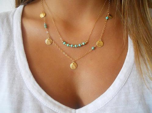 Collar dorado con turquesa y suplementos (M)