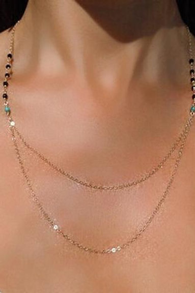 Multicollar perla turquesa. (M)
