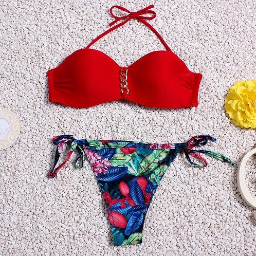 Bikini rojo/flores. (M)