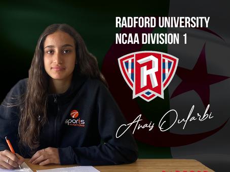 Anais Oularbi signe à Radford University