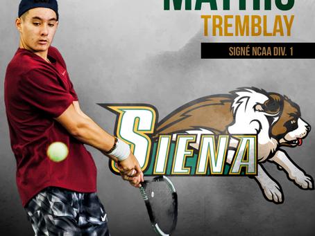 Mathis Tremblay en NCAA Div.1 à Siena College