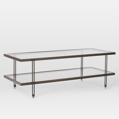 PEWTER AND GLASS COFFEE TABLE