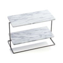 4 FRENCH MARBLE TWO TIER SERVER 7X14X10.