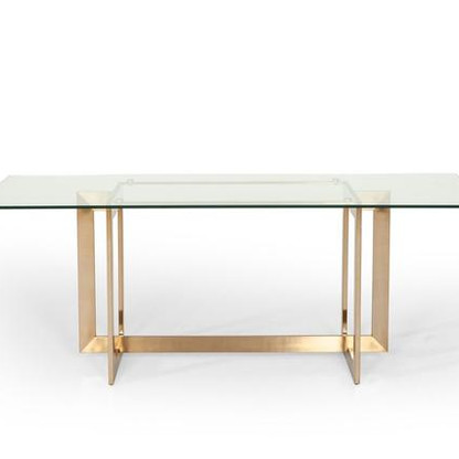 GOLD AND GLASS DINING TABLE
