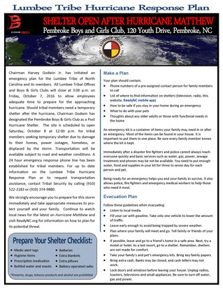 Lumbee Tribe Issues Emergency Plan for Hurricane Matthew
