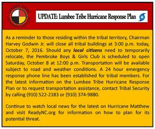 UPDATE: LUMBEE TRIBE HURRICANE RESPONSE PLAN
