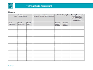 Preview of Training Needs Assessment template