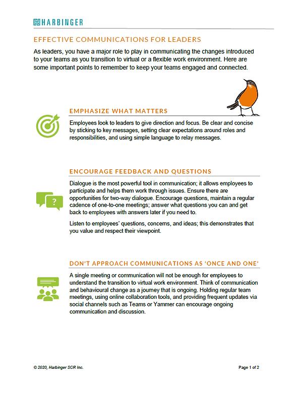 Communication Tipsheet for Leaders
