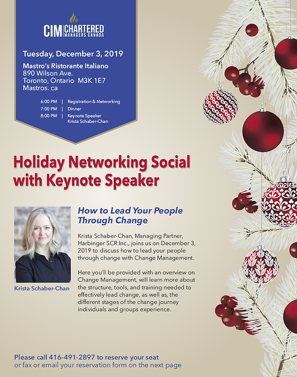 Holiday Networking Social with Keynote Speaker, Krista Schaber-Chan, Managing Partner Harbinger SCR