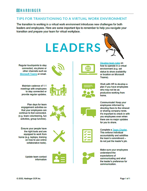 Work From Home Tipsheet for Leaders