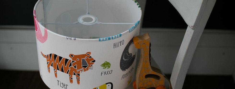 Handmade Drum Lampshade in Animal Magic White