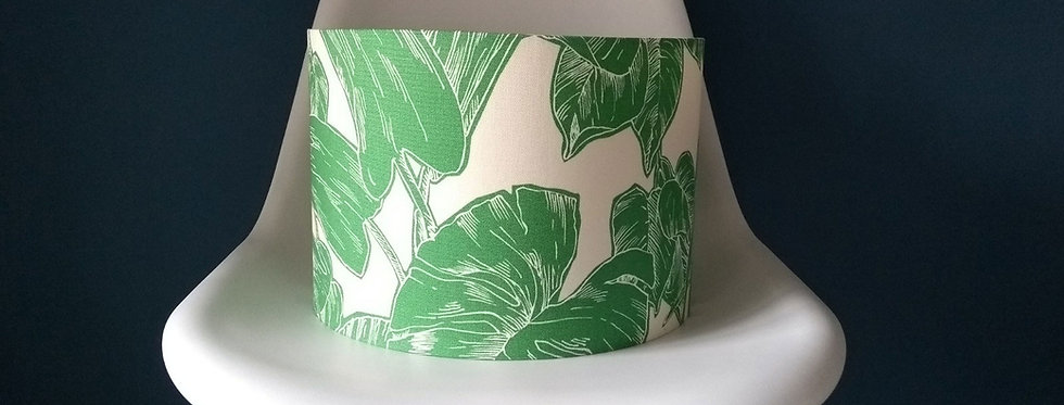 Handmade Drum Lampshade in Gecko Green Palm