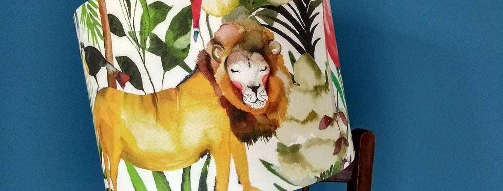 Handmade Drum Lampshade in King of the Jungle