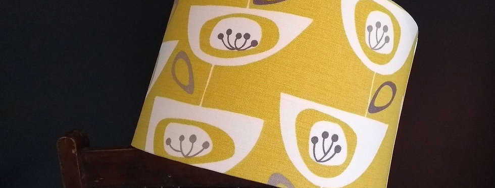 Handmade Drum Lampshade in Yellow Seed heads
