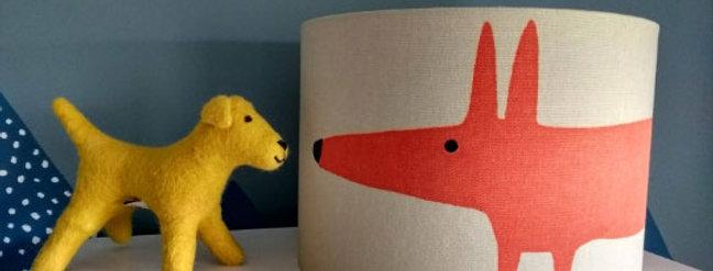 Handmade Drum Lampshade in Mr Fox Paprika