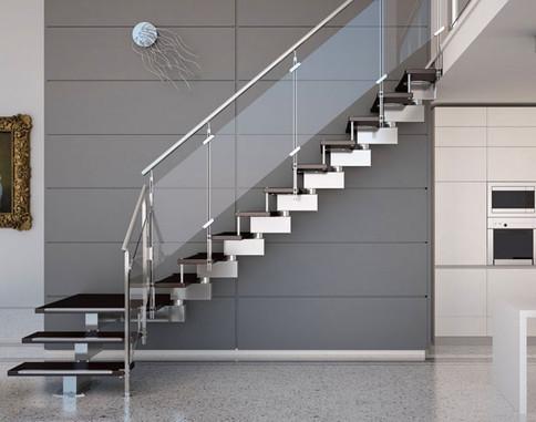 Escalera acero con cristal