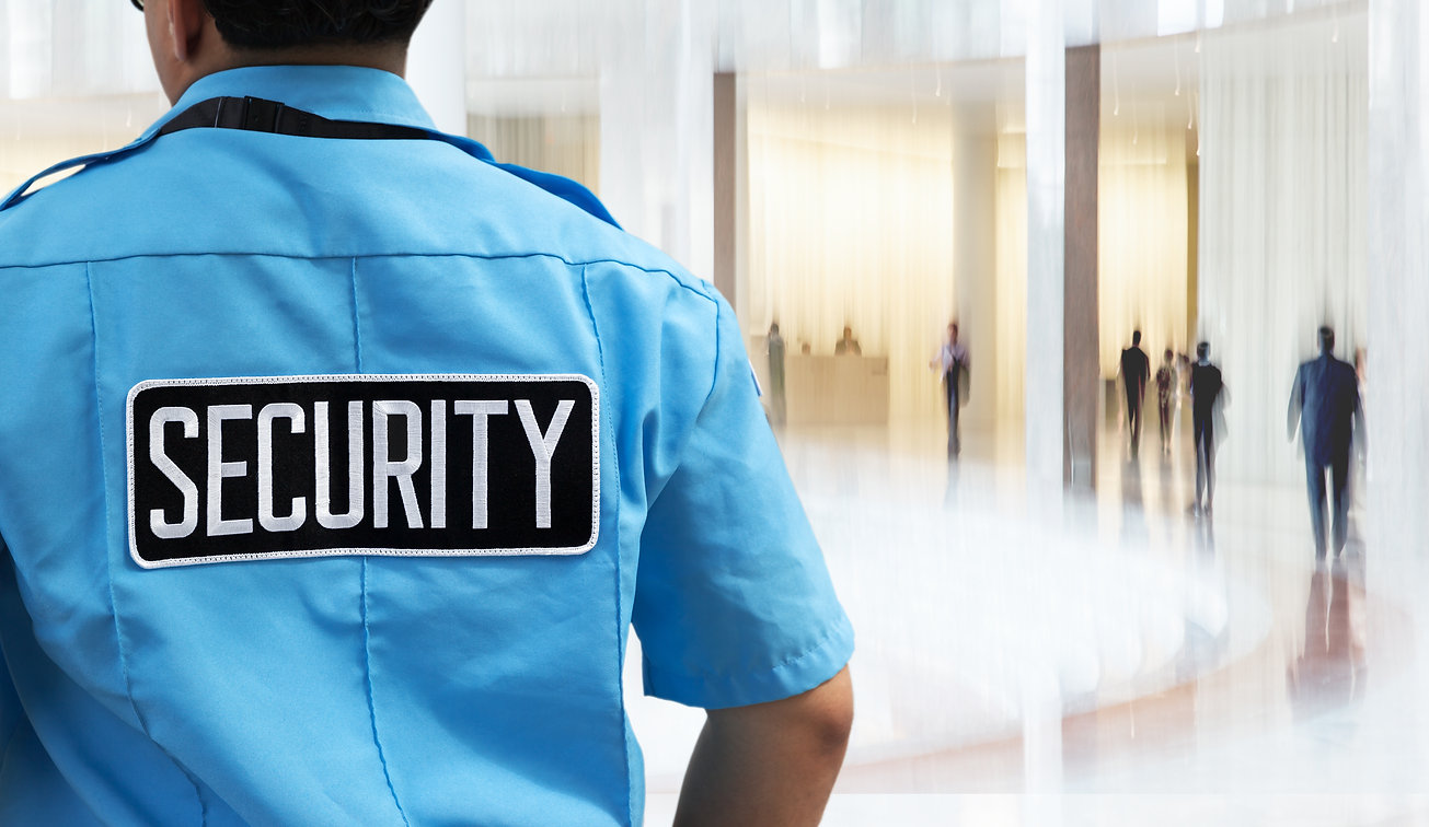 corporate security guard conducting access control for security guard group client