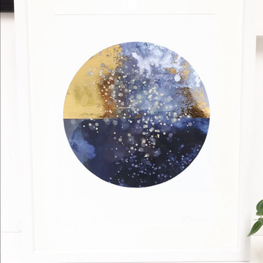 Galaxy Gold - White Framed