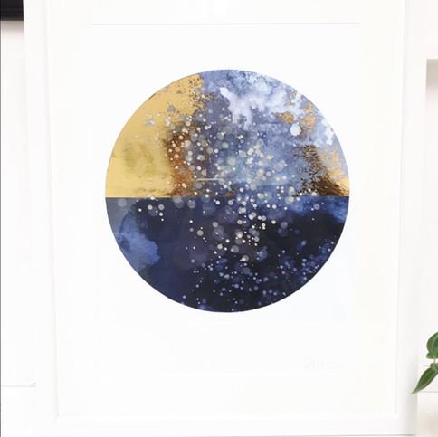 Galaxy Gold - White Framed