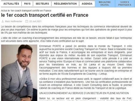 Coach Consulting : Le premier coach transport certifié en France - Classe Export - Juillet 2021