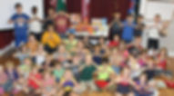 Children stocking the Heart Cart