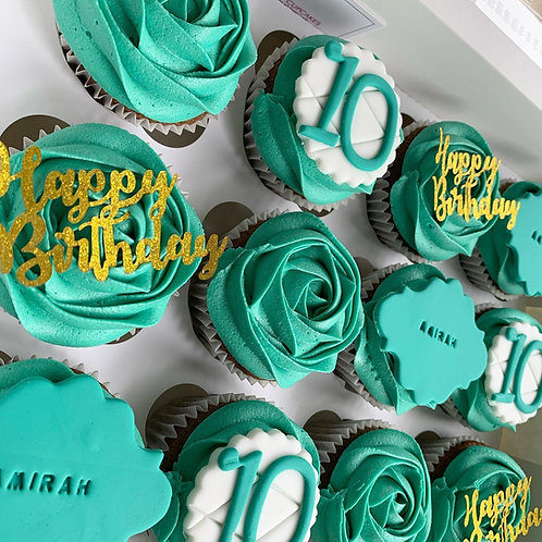 Classic Personalised Celebration Cupcakes-BOX OF 16
