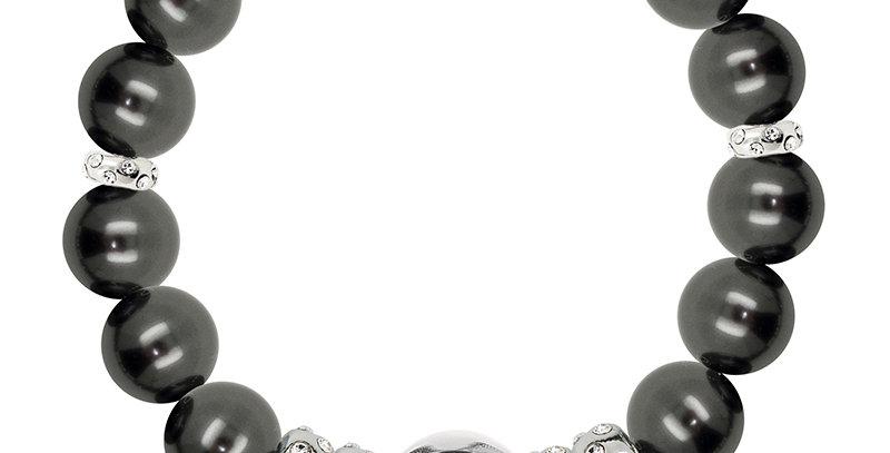 10MM隔珠手鏈(銀黑)