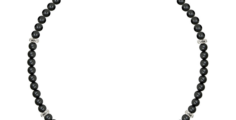 6MM隔珠項鏈(銀黑)