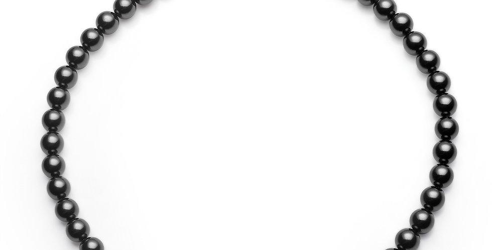 8MM珠項鏈(銀黑)