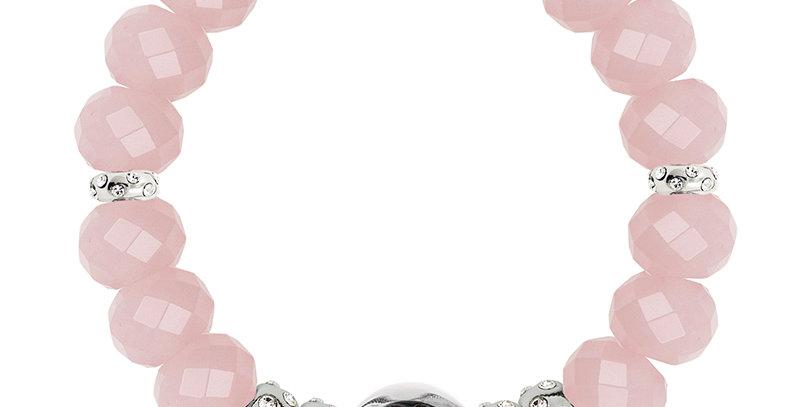 半寶石隔珠手鏈(粉紅晶)