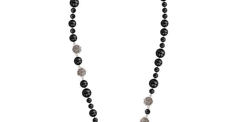 仿珍珠長項鏈(黑)