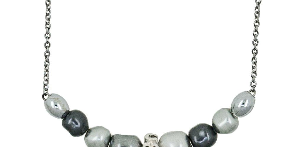 微笑巴洛克珠項鏈(銀灰黑)