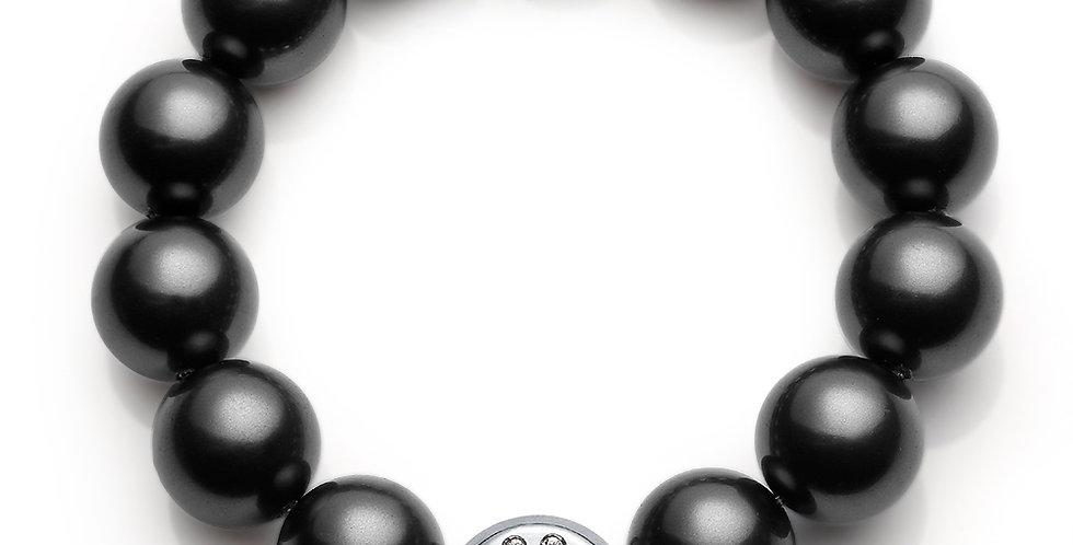 12MM珠手鏈(銀黑)