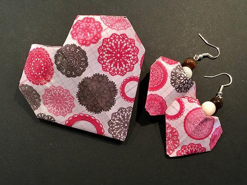 Boucles d'oreille Origami Coeur