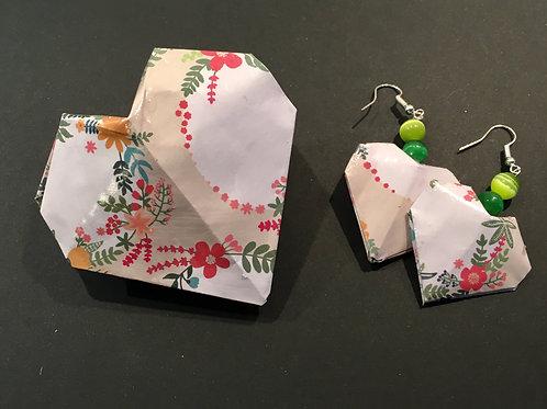 Boucles d'oreilles origami Cœur