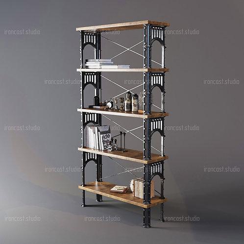 "Этажерка большая ""IRONBOLT"" материал: чугун марки СЧ-20, древесина. Мебель в стиле ""Industrial"" ""Loft""."
