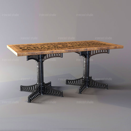 "Стол большой ""IRONBOLT"" материал: чугун марки СЧ-20, древесина. Мебель в стиле ""Industrial"" ""Loft""."