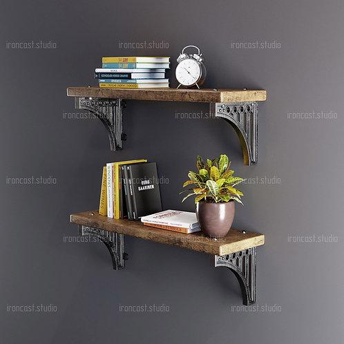 "Полка ""IRONBOLT"" материал: чугун марки СЧ-20, древесина. Мебель в стиле ""Industrial"" ""Loft""."