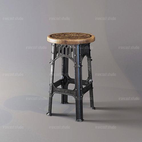 """Барный стул """"IRONBOLT"""" материал: чугун марки СЧ-20, древесина. Мебель в стиле """"Industrial"""" """"Loft""""."""