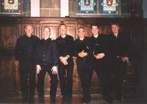 Before Quimper cathedral concert - the tenors (from left: Graham, Jason, Jonathan, Phil, Tom, Richard)