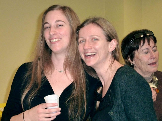 Anne Draisey and Katherine Gwynne, with French host to far right