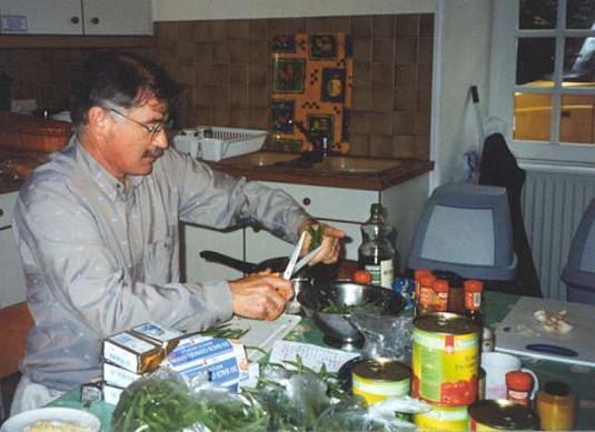 Paul preparing dinner, Normandy Tour