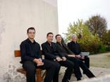 Relaxing before concert: (left-to-right) Tom Castle, Mike Vian Clark, Matt Cann, Julian Rippon