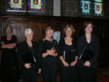 Before Quimper cathedral concert - the sopranos (from left: Stella, Anne, Sally, Susie, Lucy)