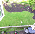 Overhead view of newly planted garden bed
